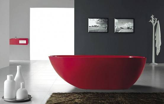 красный цвет в дизайне ванной комнаты. красный цвет в дизайне ванной...