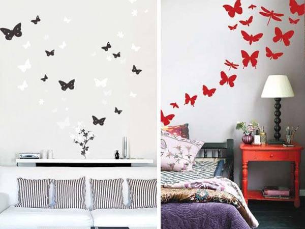 Бабочки в декоре стен интерьера