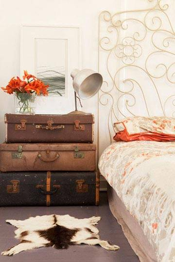 чемодан в декоре, чемодан в интерьере, чеможаны как элемент декора интерьера, фото, красивые интерьеры