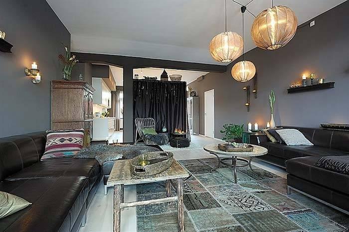 Необычный дизайн квартиры, оформленной в темные цвета фото