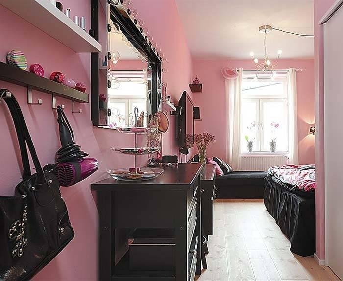 Розовые стены в интерьере подростковой комнаты для девушки фото