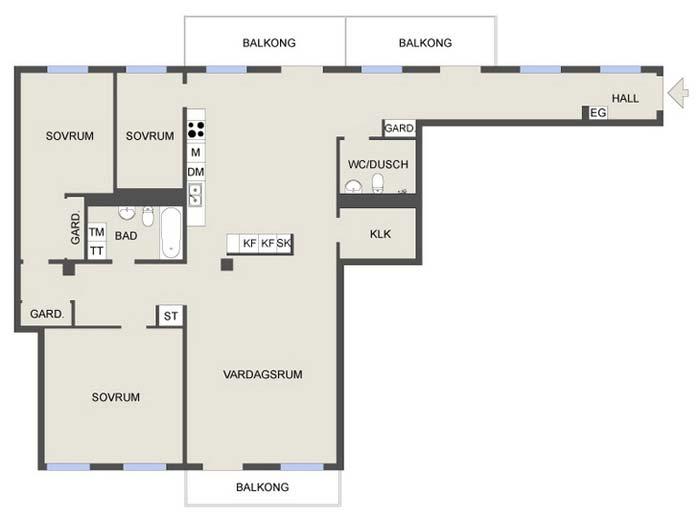 План квартиры в темных тонах фото