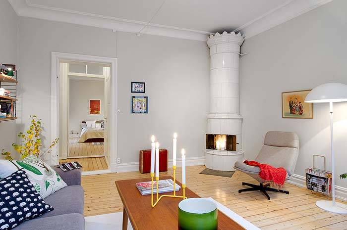 камин в интерьере квартиры