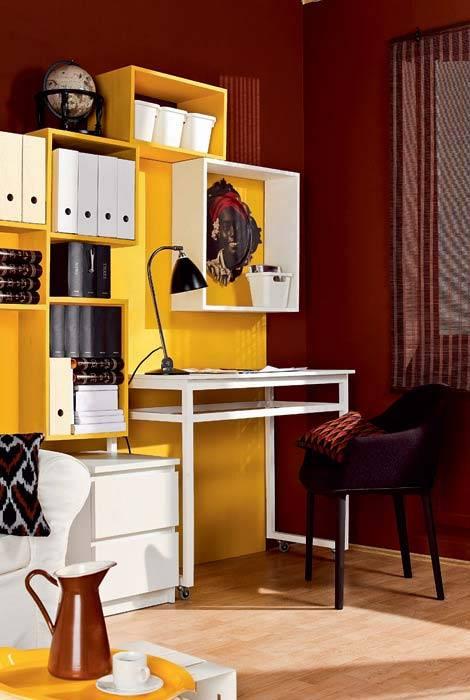 мини офис, домашний офис, гостиная комната, красивые интерьеры