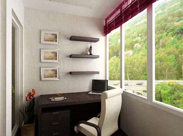дизайн балкона рабочий кабинет фото.
