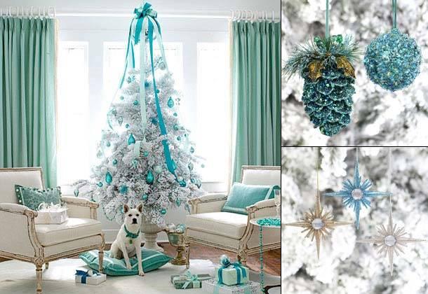 новогодний декор в голубом цвете