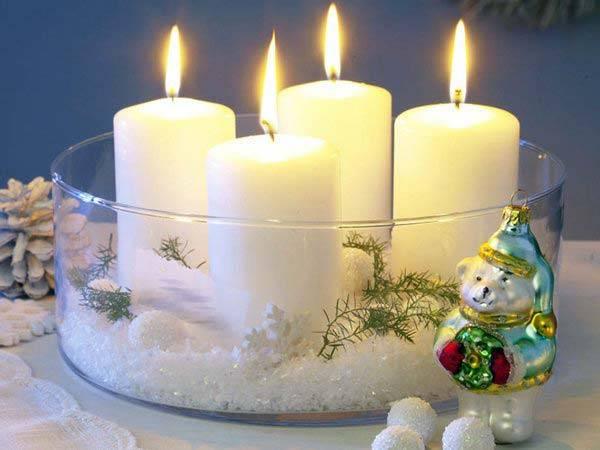 праздничный декор из свечей
