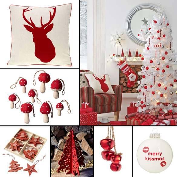 новогодний декор, красно-белое сочетание цветов