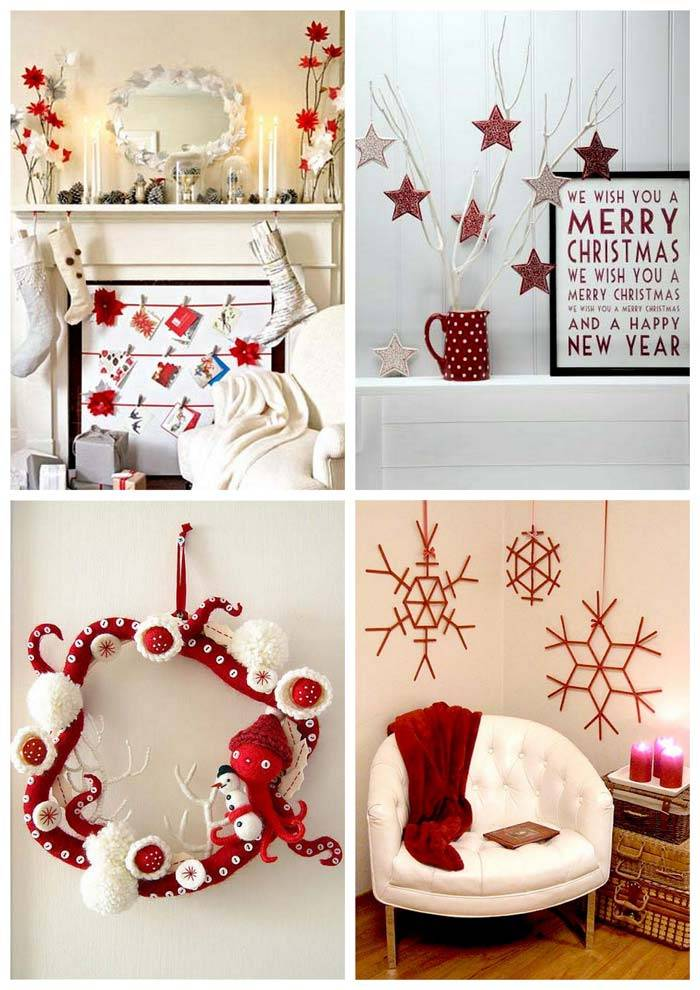 новогодний декор: сочетание красного и белого цветов