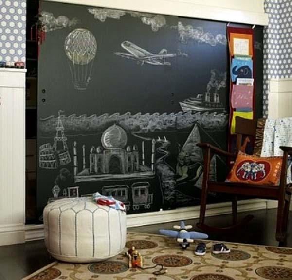 меловая доска в интерьере детской комнаты