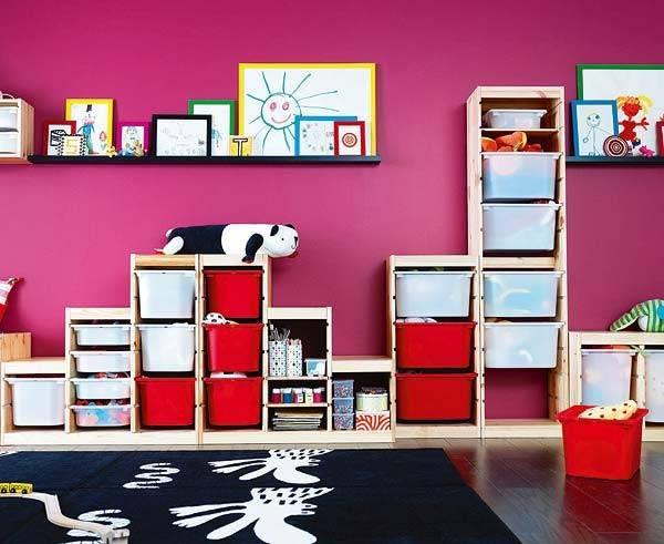 компактное хранение в детской комнате