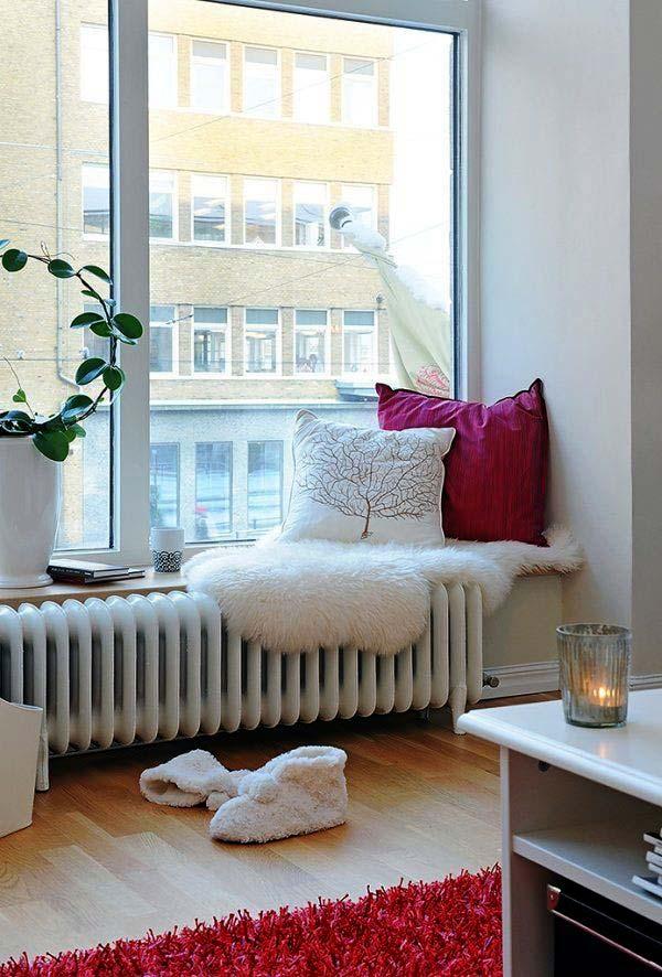 зимний уютный уголок для чтения и отдыха