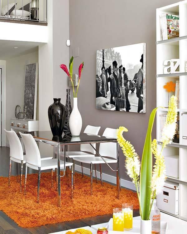 сочетание серого и оранжевого цветов в интерьере