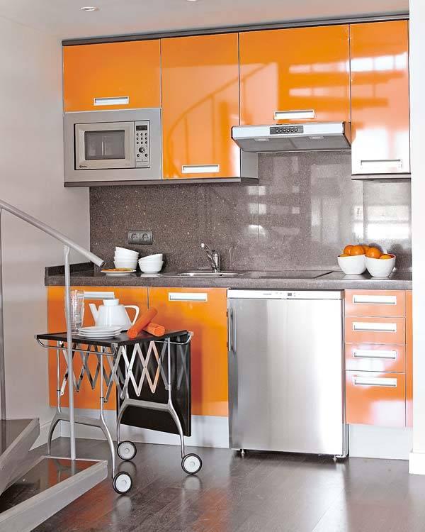 оранжево-серое сочетание цветов в интерьере