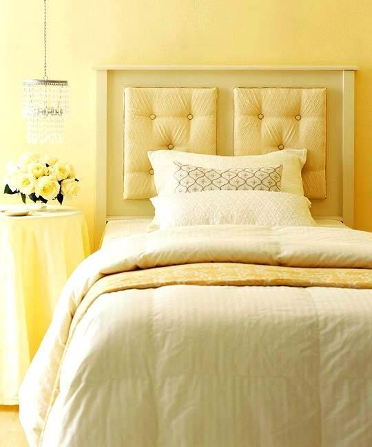 желтый цвет в интерьере спальни