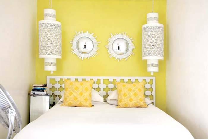 желтые стены в интерьере спальни