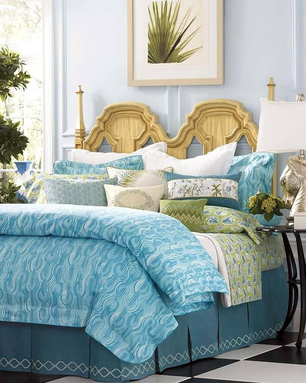голубой цвет в интерьере спальни