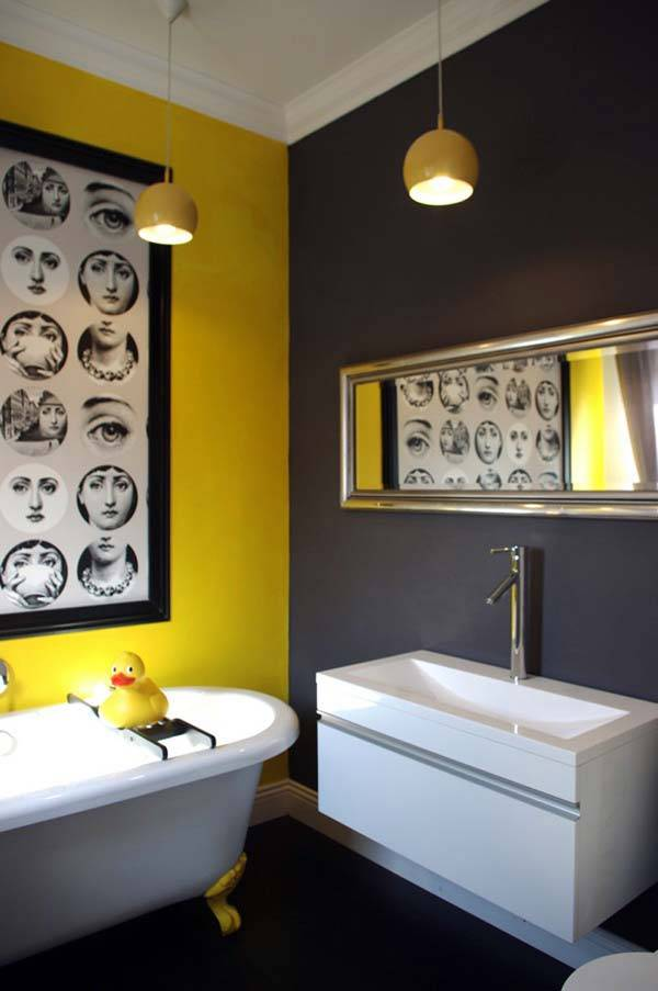 Black white grey yellow room
