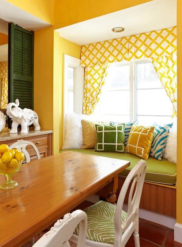 Желтые шторы на кухню фото