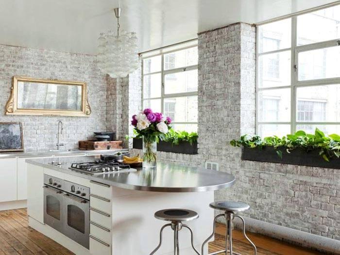 фото кирпичная стена на кухне