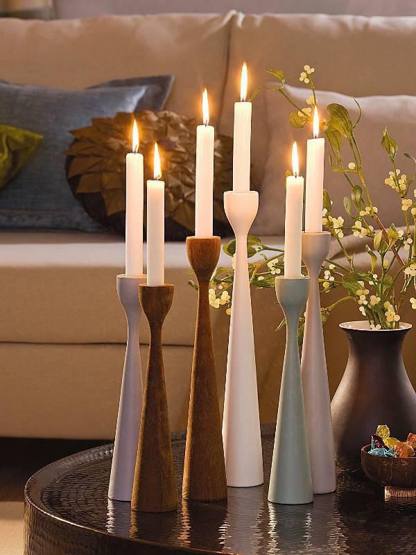 подсвечники и свечи в декоре