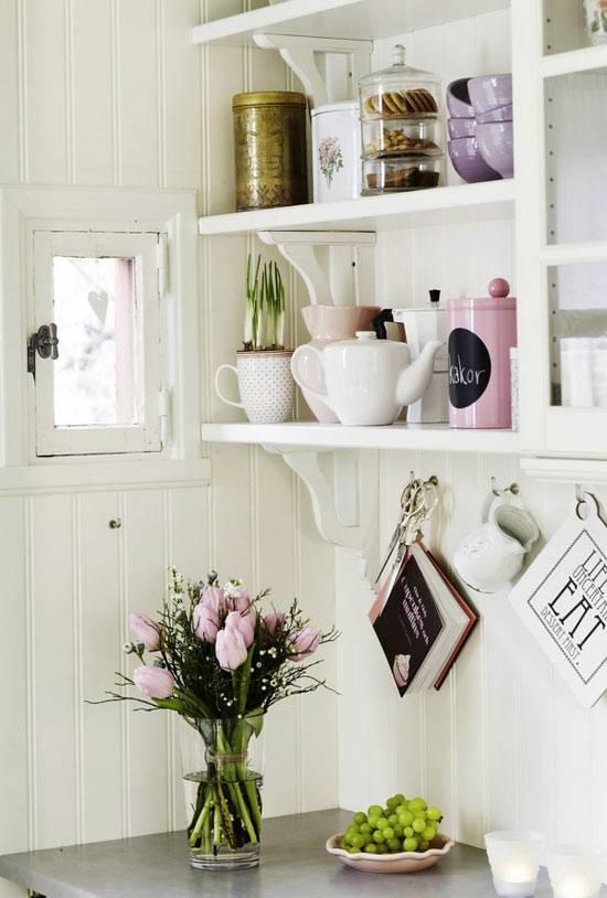 открытые кухонные полки