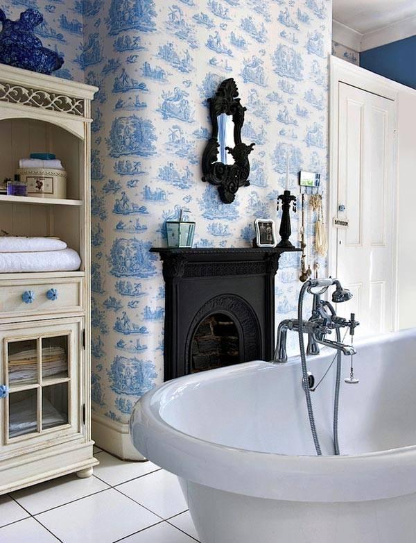 камин в ванной комнате фото