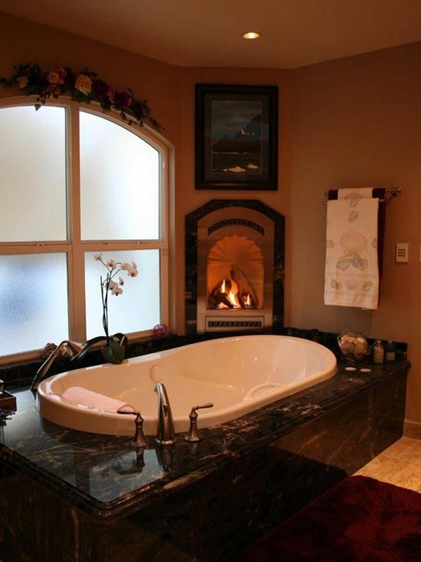 камин в ванной фото