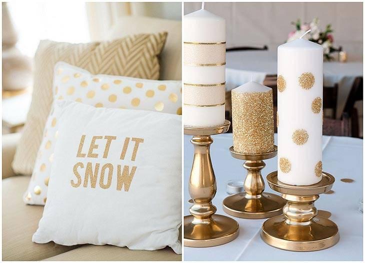 золотой новогодний декор