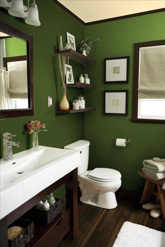 зеленый цвет в ванной комнате фото