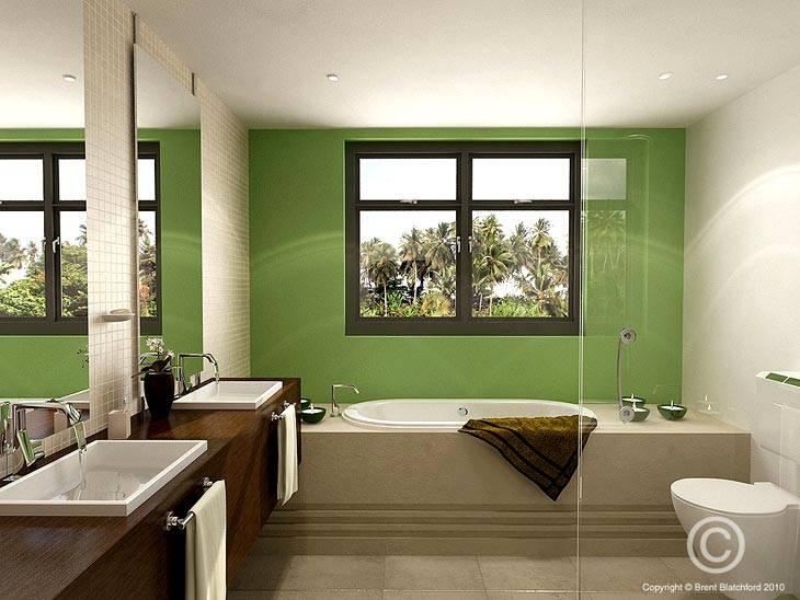 зеленый в интерьере ванной комнаты