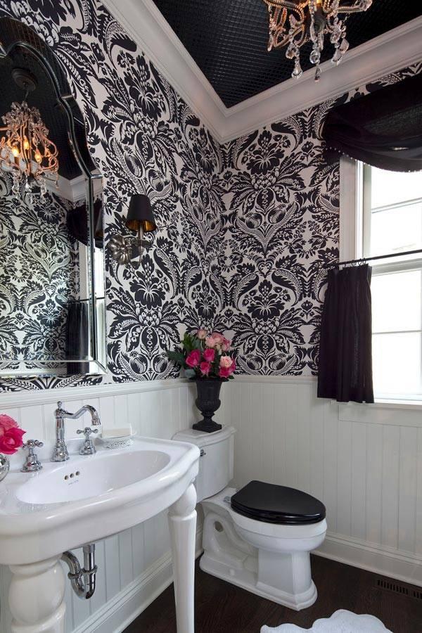 красивый обои в дизайне туалета