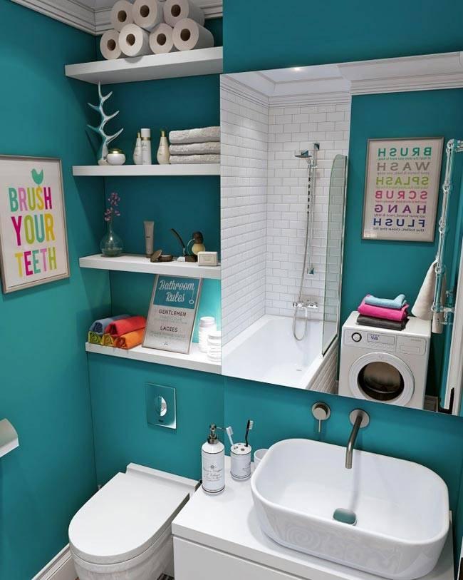 бирюховый цвет ванной комнаты