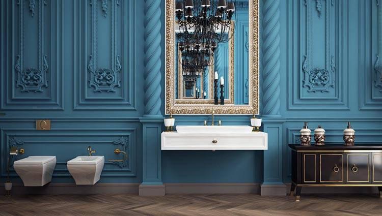 синий интерьер ванной комнаты