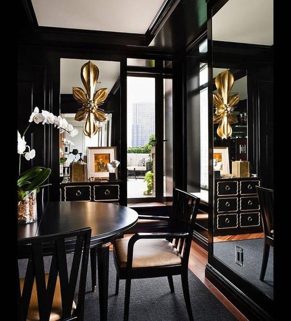 черный и золотой цвета в оформлении интерьера