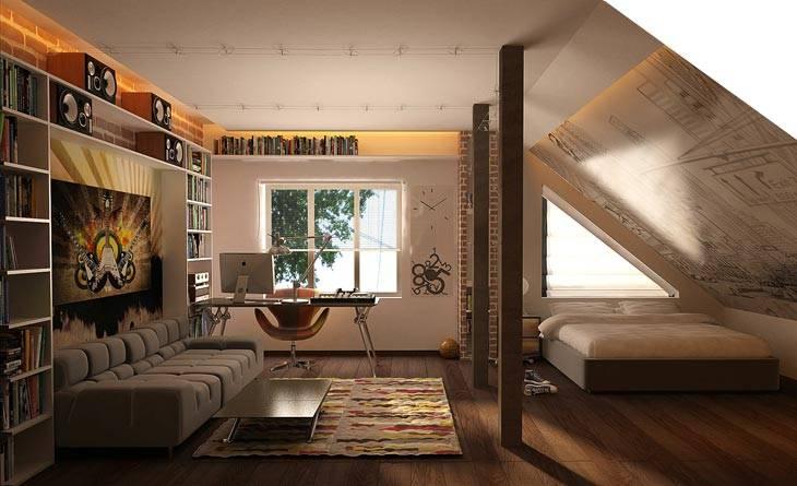 комната для подростка на мансарде