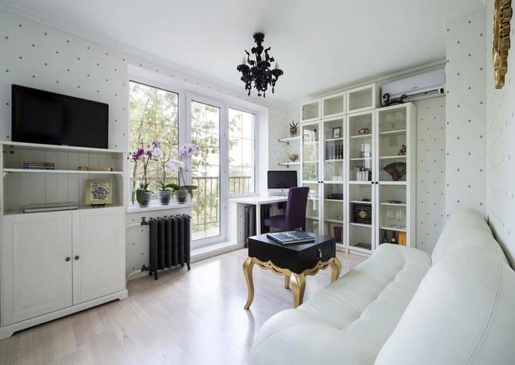 Две комнаты из однокомнатной квартиры, дизайн интерьера