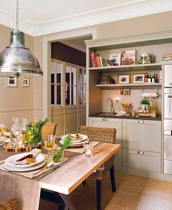 Интерьер кухни, выполненный в спокойной цветовой гамме фото
