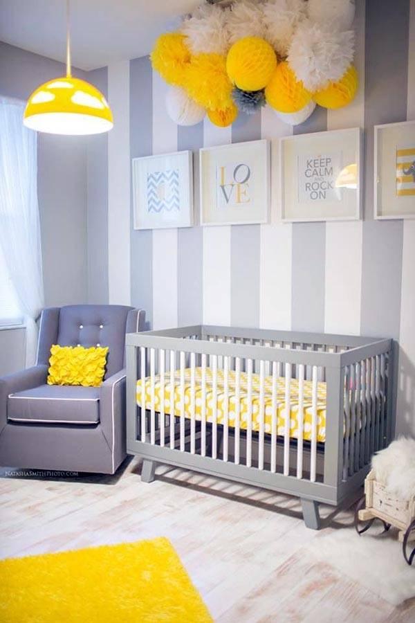 полоска на стене в интерьере детской