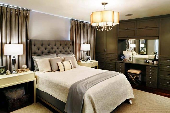 красивый интерьер спальни в коричневых тонах фото