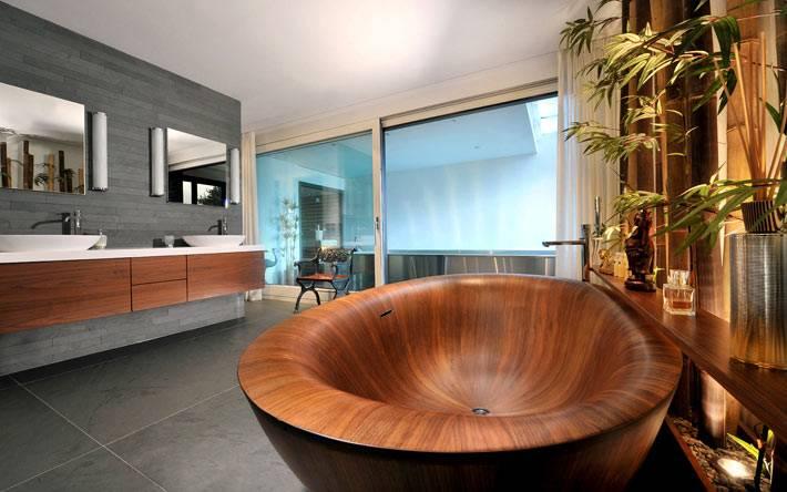 Деревянная ванна - Ванная комната