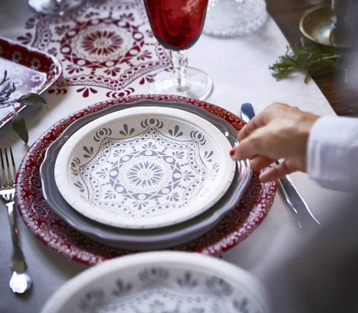 красивая посуда для новогоднего стола ИКЕА
