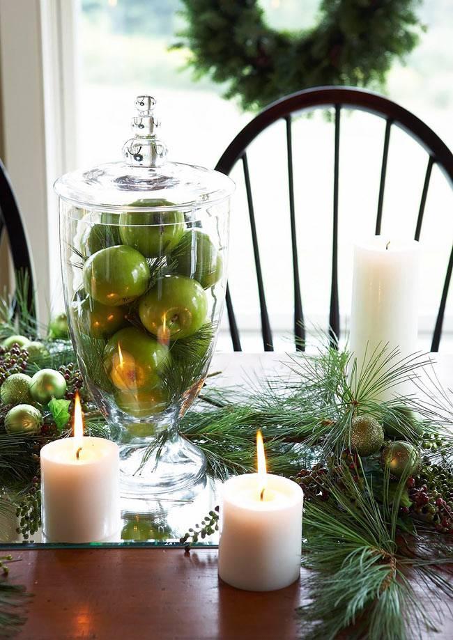 свечи в новогоднем декоре