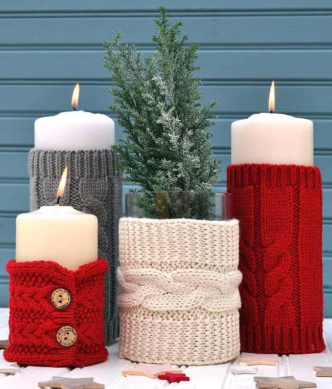 новогодние идеи декора свечей