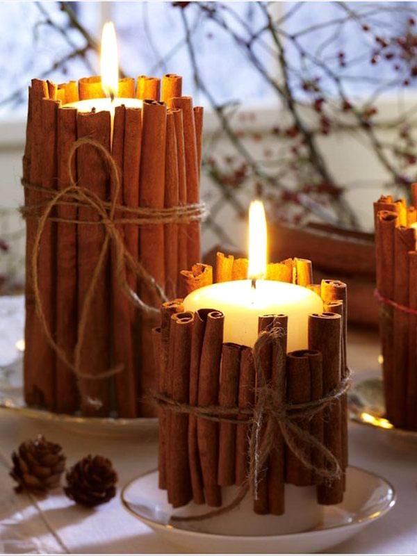 корица в декоре свечей фото
