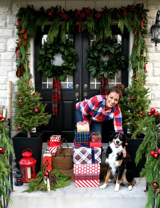 новогодний декор двери фото