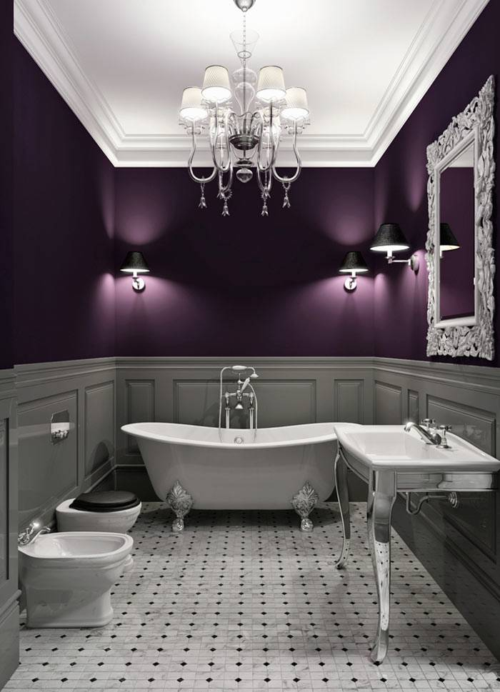 сочетание фиолетового и белого цвета в дизайне ванной комнаты