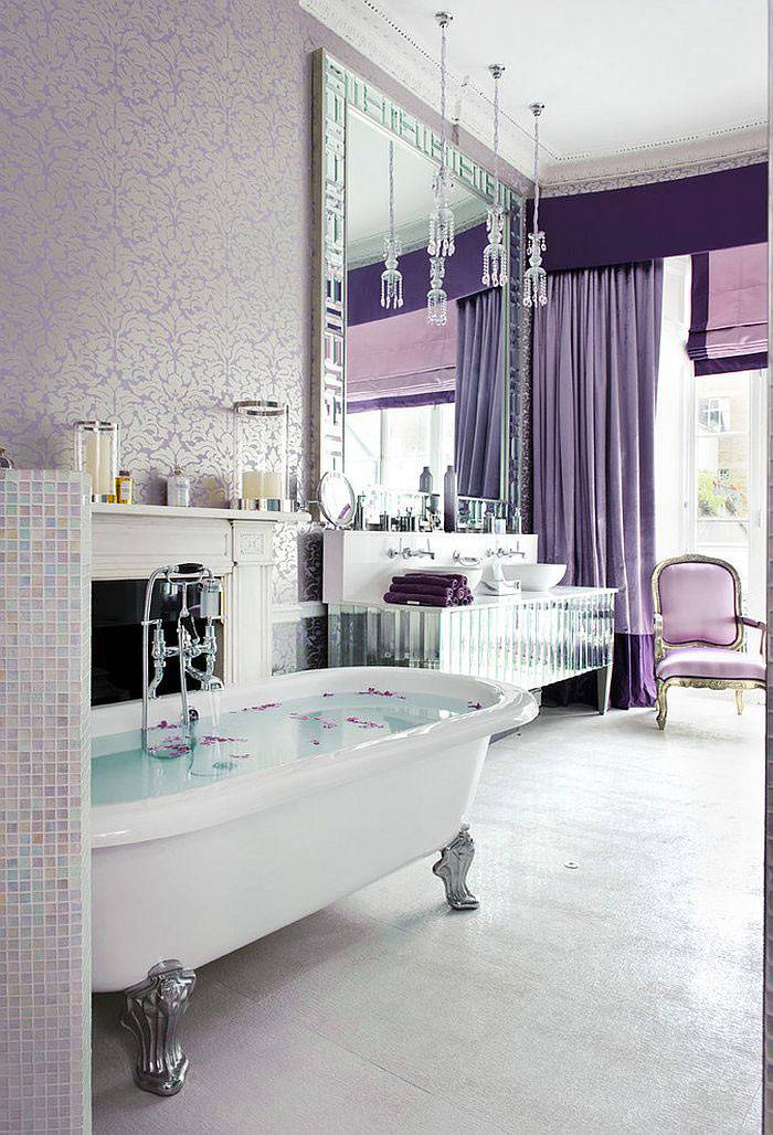 ваннная комната лилового цвета