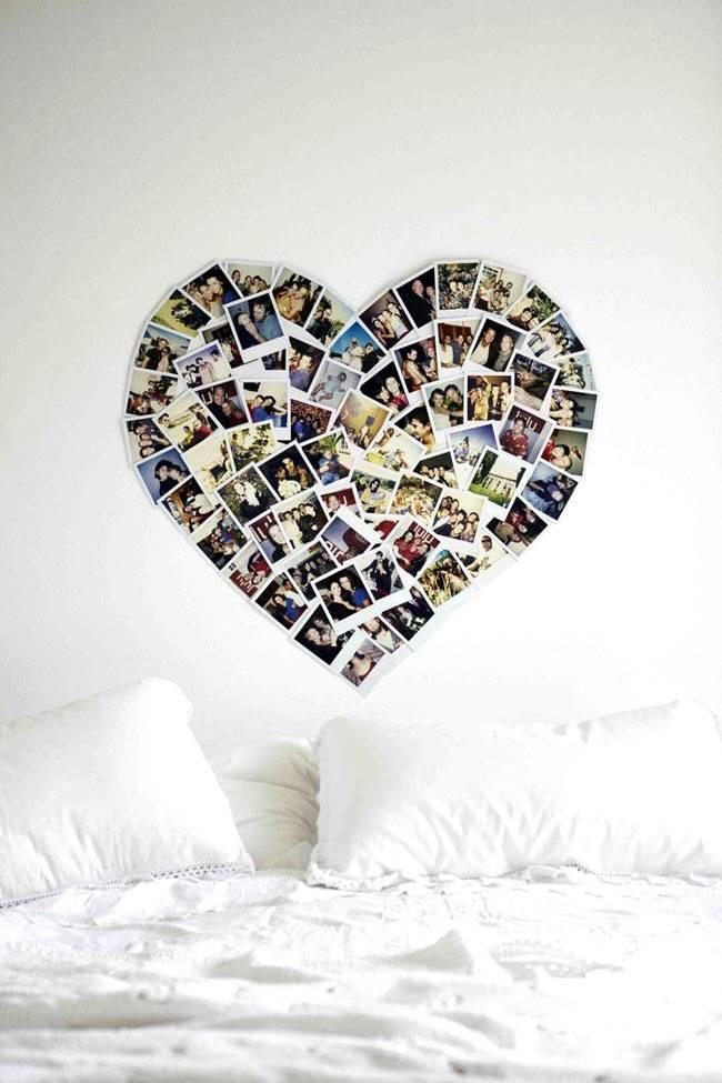 фотографии в виде сердца в интерьере спальни