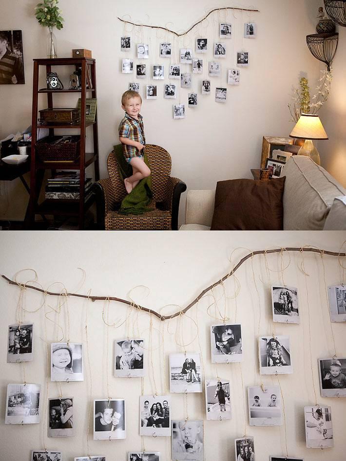 идеи размещения фото на стене